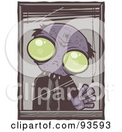 Royalty Free RF Clipart Illustration Of A Zombie Waving Out From His Office Window With White Edges