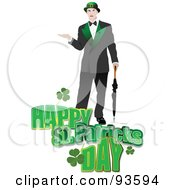 Man Over A Happy St Patricks Day Greeting On White