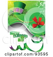 Happy St Patricks Day Greeting With Clovers A Hat And Ribbon On Green And White