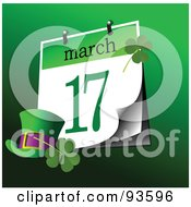 Hat And Clovers By A March 17 St Patricks Day Calendar On Green