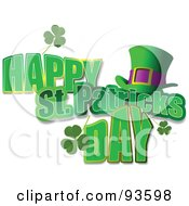 Happy St Patricks Day Greeting With Clovers And A Hat On White