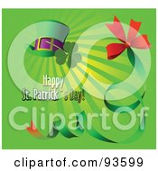 Happy St Patricks Day Greeting With A Hat Clover And Green Ribbon On Green