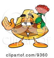 Clipart Picture Of A Hard Hat Mascot Cartoon Character Holding A Red Rose On Valentines Day by Toons4Biz