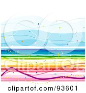 Royalty Free RF Clipart Illustration Of A Square Background Of Colorful Rainbow Lines On White