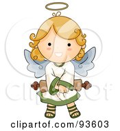 Royalty Free RF Clipart Illustration Of A Cute Angel Girl Holding A Scroll