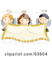 Royalty Free RF Clipart Illustration Of Cute Angel Girls Holding A Blank Banner