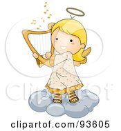 Royalty Free RF Clipart Illustration Of A Cute Angel Girl Playing A Harp On A Cloud