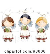 Royalty Free RF Clipart Illustration Of A Trio Of Cute Singing Angel Boys And Girls by BNP Design Studio