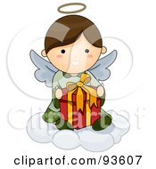 Royalty Free RF Clipart Illustration Of A Cute Angel Sitting On A Cloud With A Gift by BNP Design Studio