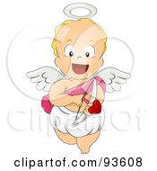 Royalty Free RF Clipart Illustration Of A Baby Cupid Smiling And Pointing An Arrow Forward