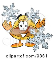 Clipart Picture Of A Hard Hat Mascot Cartoon Character With Three Snowflakes In Winter by Toons4Biz