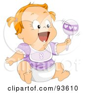 Royalty Free RF Clipart Illustration Of A Baby Girl Laughing And Shaking A Rattle