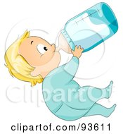 Royalty Free RF Clipart Illustration Of A Baby Boy In A Onesie Leaning Back And Drinking From A Bottle by BNP Design Studio