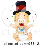 Royalty Free RF Clipart Illustration Of A New Years Baby Boy With Confetti And A Hat