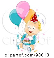 Royalty Free RF Clipart Illustration Of A Baby Birthday Boy With Confetti Balloons And Cake