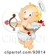 Royalty Free RF Clipart Illustration Of A Baby Cupid Ready To Shoot An Arrow