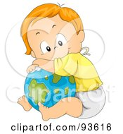 Royalty Free RF Clipart Illustration Of A Baby Boy Leaning And Resting On A Globe by BNP Design Studio