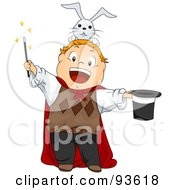 Royalty Free RF Clipart Illustration Of A Little Boy Magician With A Rabbit On His Head