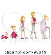 Royalty Free RF Clipart Illustration Of A Baby Shown In Stages Of Growth To Girl Teen Woman And Senior