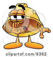 Clipart Picture Of A Hard Hat Mascot Cartoon Character Whispering And Gossiping by Toons4Biz