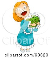 Royalty Free RF Clipart Illustration Of A Little Girl Hugging Her Piggy Bank