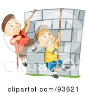 Royalty Free RF Clipart Illustration Of Boys Climbing Ropes Over A Stone Wall