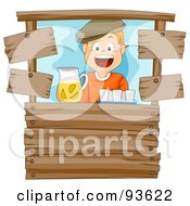 Royalty Free RF Clipart Illustration Of A Happy Lemonade Stand Boy Smiling by BNP Design Studio