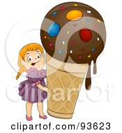 Royalty Free RF Clipart Illustration Of A Little Girl Beside A Giant Ice Cream Cone by BNP Design Studio