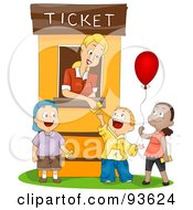 Royalty Free RF Clipart Illustration Of A Ticket Booth Woman Assisting Three Kids
