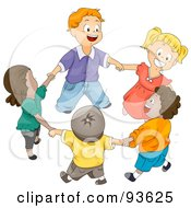 Royalty Free RF Clipart Illustration Of A Group Of Happy Diverse Kids Holding Hands And Walking In A Circle