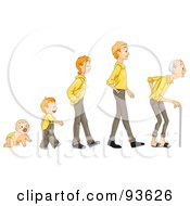 Royalty Free RF Clipart Illustration Of A Baby Shown In Stages Of Growth To Boy Teen Man And Senior by BNP Design Studio