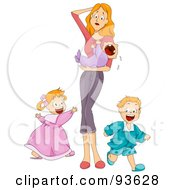 Royalty Free RF Clipart Illustration Of An Overwhelmed Mom Holding A Crying Baby While Her Son And Daughter Run Around Her