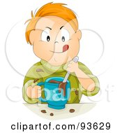 Royalty Free RF Clipart Illustration Of A Little Boy Mixing Chocolate Milk by BNP Design Studio