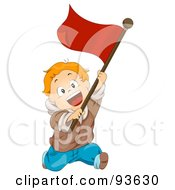 Royalty Free RF Clipart Illustration Of A Little Boy Running With A Red Flag by BNP Design Studio