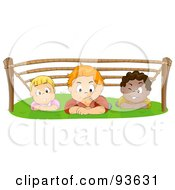 Royalty Free RF Clipart Illustration Of A Group Of Kids Hiding Out And Crawling Under Ropes by BNP Design Studio