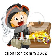 Royalty Free RF Clipart Illustration Of A Little Pirate Boy Opening A Treasure Chest by BNP Design Studio