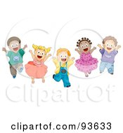 Royalty Free RF Clipart Illustration Of A Group Of Energetic Diverse Kids Jumping