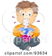 Royalty Free RF Clipart Illustration Of A Little Boy Sitting And Drinking A Large Soda Or Juice