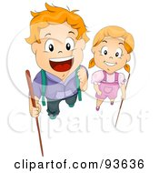 Royalty Free RF Clipart Illustration Of A Boy And Girl Looking Up And Holding Hiking Sticks