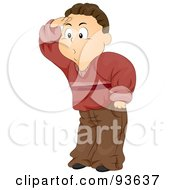 Royalty Free RF Clipart Illustration Of A Boy Covering His Eyes And Peering To The Left