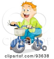 Royalty Free RF Clipart Illustration Of A Little Boy Riding A Bicycle With Training Wheels by BNP Design Studio
