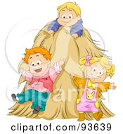Royalty Free RF Clipart Illustration Of A Group Of Happy Kids Playing In A Hay Stack