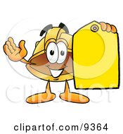 Hard Hat Mascot Cartoon Character Holding A Yellow Sales Price Tag
