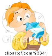 Royalty Free RF Clipart Illustration Of A Little Boy Drinking Milk From A Sippy Cup