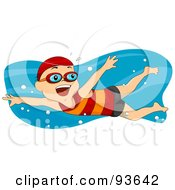 Royalty Free RF Clipart Illustration Of A Little Boy Smiling And Swimming by BNP Design Studio