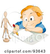 Royalty Free RF Clipart Illustration Of A Little Boy Drawing A Dummy