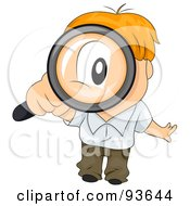 Royalty Free RF Clipart Illustration Of A Little Boy Peering Up Through A Magnifying Glass by BNP Design Studio
