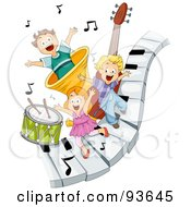 Royalty Free RF Clipart Illustration Of Three Happy Kids On Piano Keys With Music Notes And Instruments by BNP Design Studio