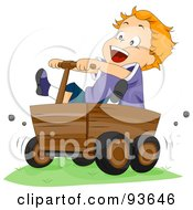 Royalty Free RF Clipart Illustration Of A Boy Riding In A Wooden Cart