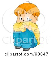 Royalty Free RF Clipart Illustration Of A Sad Boy Hugging His Knees And Crying by BNP Design Studio